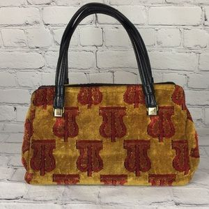 Mid Century Carpet Bag 50's Scarlet Plush Vintage